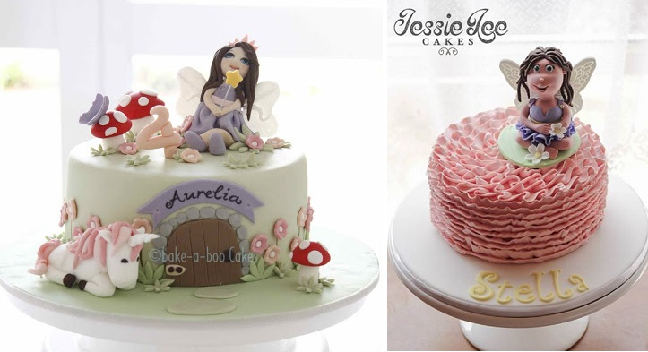 flower fairy cakes by Bake A Boo left and Jessie Lee Cakes right