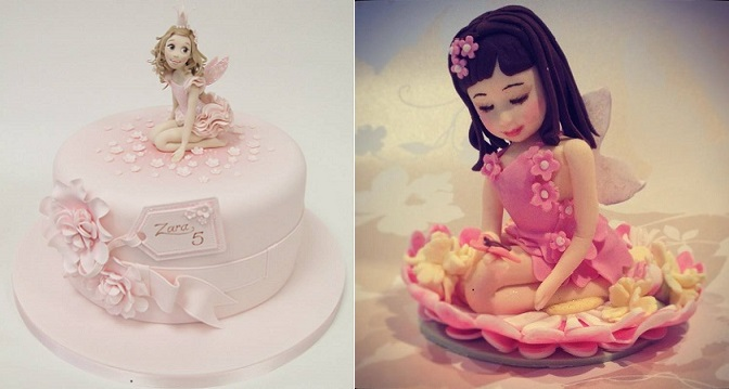 flower fairy cakes from Emma Jayne Cake Design left and The Sugar Cloud Cakery right