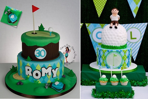 Gold Cakes By Dusty Right And Via Pinterest Left A Super Cool Golfer