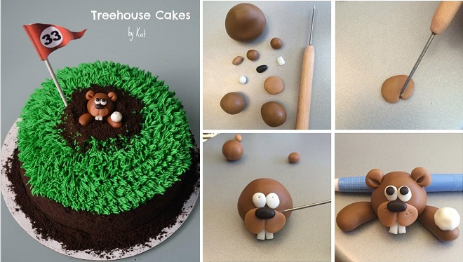golf cakes and ground hog tutorial by Treehouse Cakes by Kat
