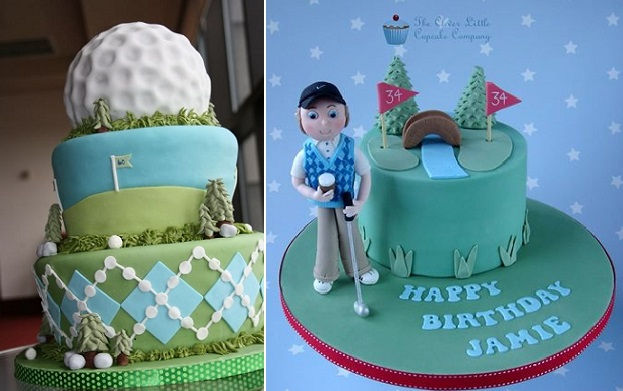 golf cakes by KG The Art of Cakes left and The Clever Little Cupcake Co right