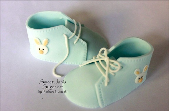 gumpaste baby booties by Sweet Janis Sugar Art