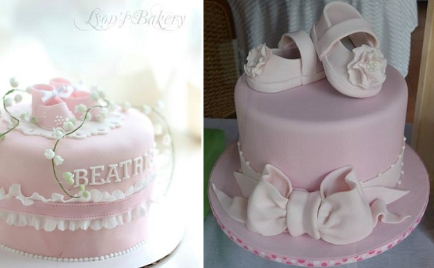 gumpaste baby shoes christening cakes naming cakes by Lyon's Bakery left, Sugar Allure right