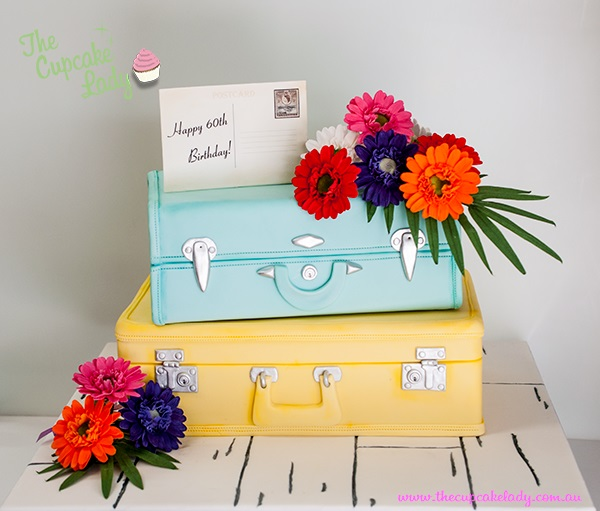 suitcase wedding cake by The Cupcake Lady, Adelaide