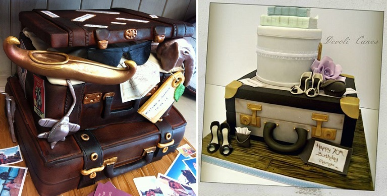 suitcase wedding cakes by Crafty Cakes Exeter left and DeVoli Cakes right