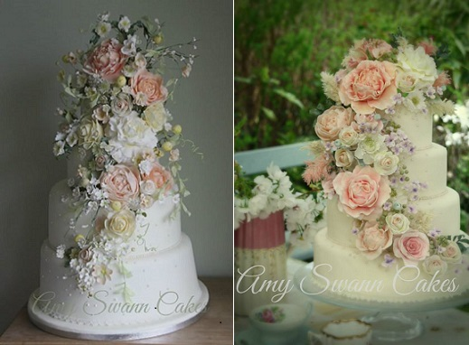 trailing sugar flowers wedding cakes by Amy Swann Cakes