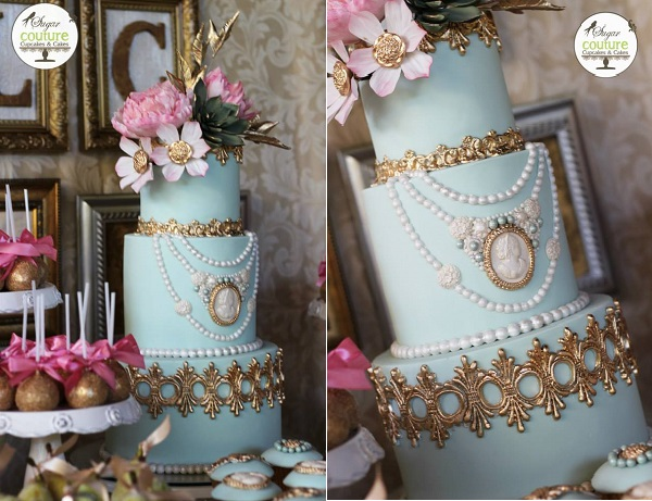 vintage jewellery wedding cake by Sugar Couture Cupcakes and Cakes