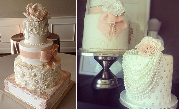 vintage jewellery wedding cakes by Julie Moncrieff's Cakes left, Jenna Rae Cakes right