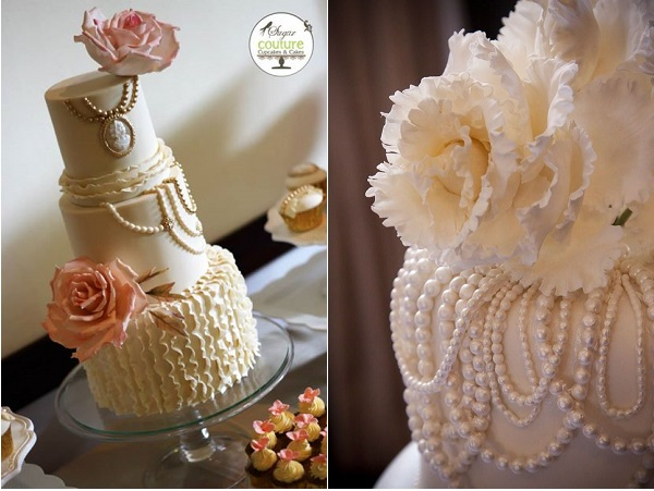 vintage jewellery wedding cakes by Sugar Couture left and Indulgy right
