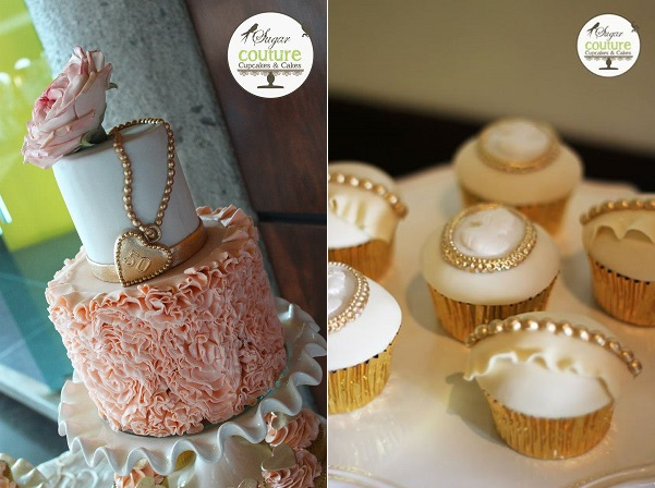 vintage locket wedding cake by Sugar Couture Cupcakes and Cakes
