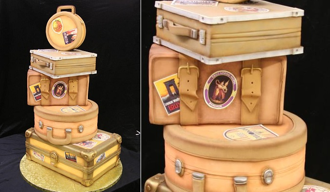 vintage luggage wedding cake from Mike's Amazing Cakes