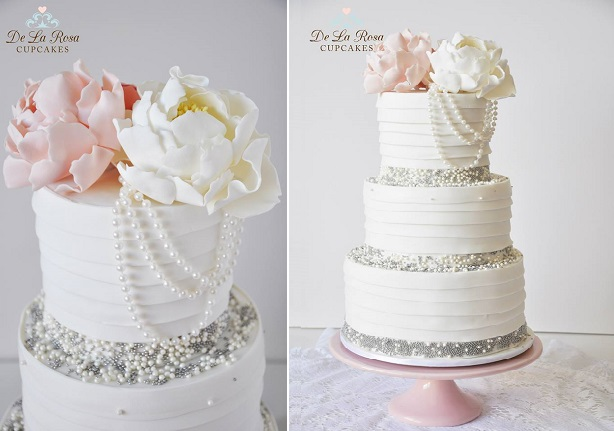 vintage pearls wedding cake by De La Rosa Cupcakes