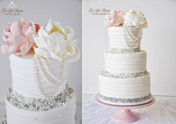 Vintage Pearls Wedding Cake By De La Rosa Cupcakes
