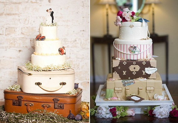 vintage suitcase wedding cake by French Made left and via Pinterest right