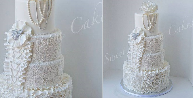 wedding dress inspired cake by Sweet Dream Cakes