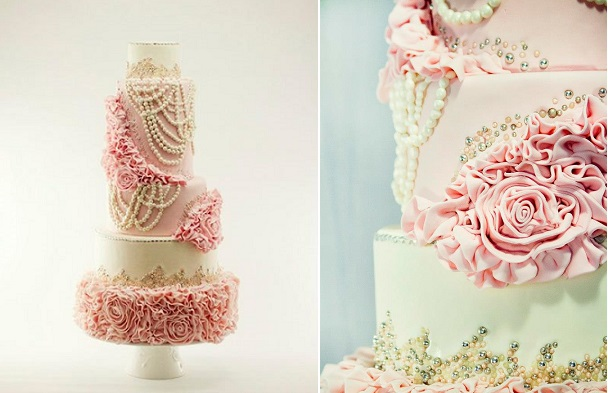 vintage pearls wedding cake in blush pink by Gat-O Quebec, Kelly Meagan Photography, via Cake Central