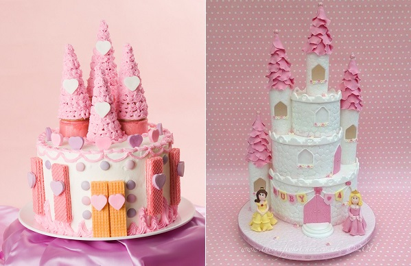 Princess Castle Cake by Jill Foster left and The Crafty Kitchen UK right