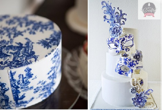 Toile-Wedding-Cake via Martha Stewart Wedding left and willow pattern inspired mask wedding cake by Arty Crafty Cakes right
