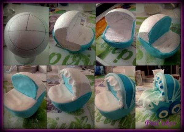 baby pram cake 3D cake by FraCakes France