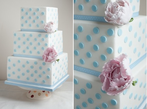 blue polka dot wedding cake square by Bliss Cakes.jpeg