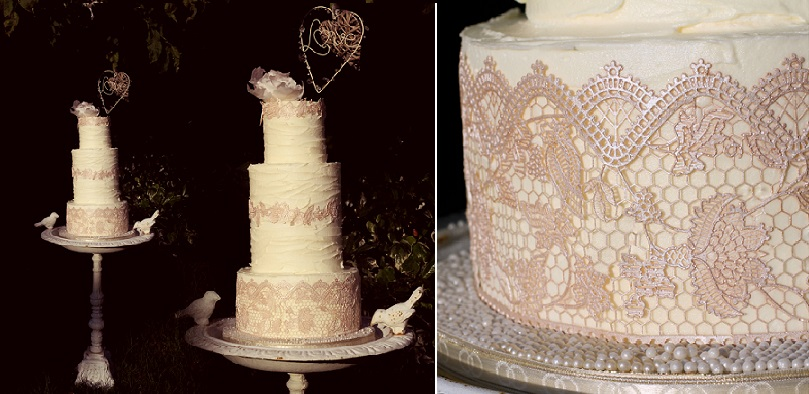 buttercream and edible lace wedding cake shabby chic by Just Jen's Desserts