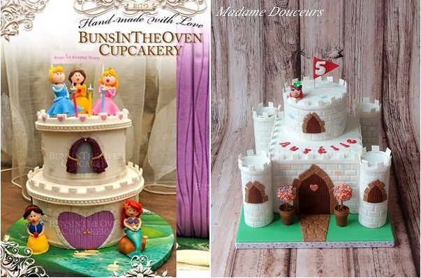 castle cake for boy or girl right by Madame Douceurs, left by Sheryl Bito