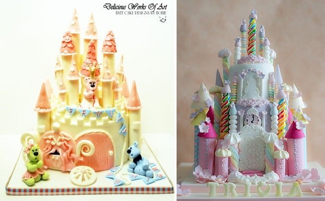 castle cake tutorial by BMT Cake Designs by Bobie left, rainbow castle by CForCupcake on Flickr right