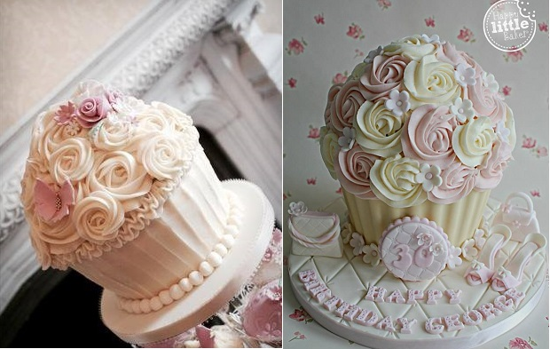 cupcake cakes by the Buttercream Bakery Hinckley left and The Happy Little Baker right
