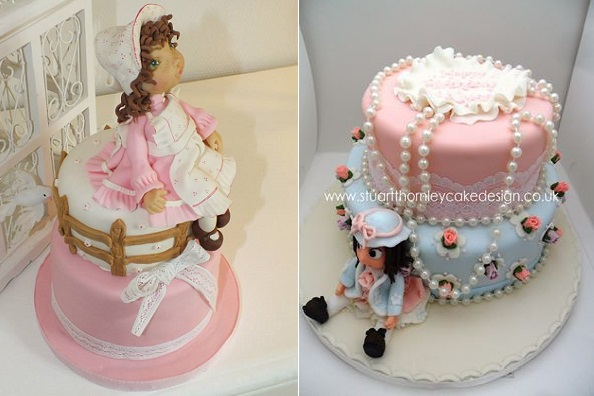 doll cakes by Grain de Sucre Cake Designer left & Stuarty Thornley Cake Design right