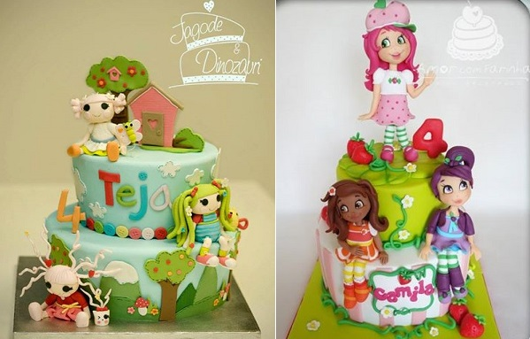 doll cakes by Jagode in Dinozavri left and Amor com Farinha right
