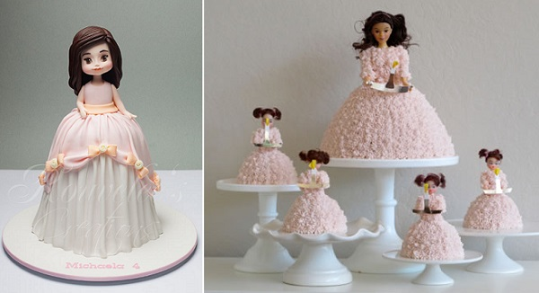 doll cakes by Rouvelee's Creations, Arnaldo Ilagan Photography left, via Chadbad.org right