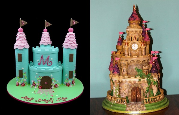 fairytale castle cakes by Inspired by Michelle left and Zoe's Fancy Cakes right