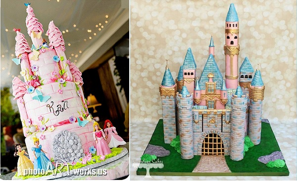 fairytale castle cakes by Johnniekake via Flickr left and Cuteology Cakes right