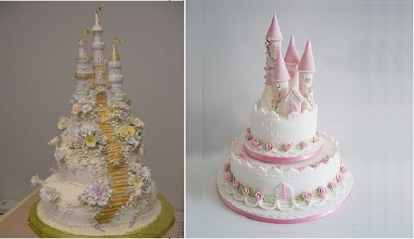 fairytale castle cakes via decofacil.net left, The Sugarcraft Emporium right