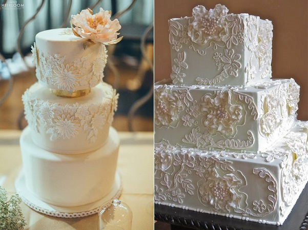 floral lace cakes by Anna Elizabeth Cakes, Sweet Heirloom Photography left, Wedding Cakes by Jim Smeal right