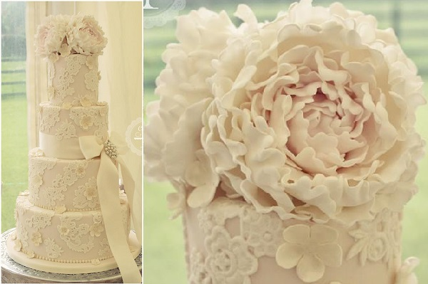 floral lace wedding cake by Cotton & Crumbs