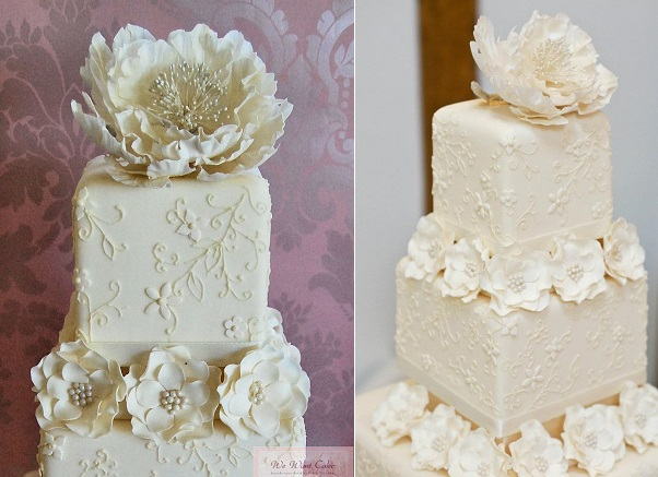 floral lace wedding cake by We Want Cake Emma Procopiou