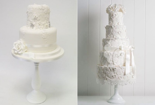 floral lace wedding cakes by Emma Jayne Cake Design left and Poppy Pickering right