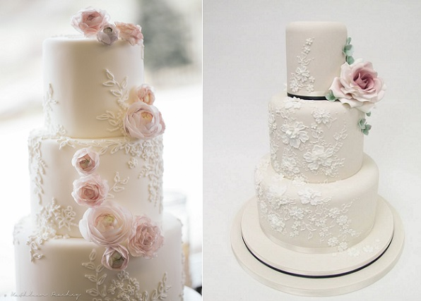 floral lace wedding cakes by KellyKakes left and Emma Jayne Cake Design right