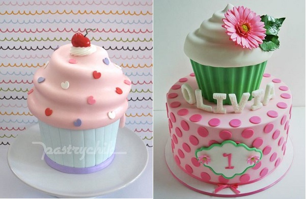 giant cupcake cakes by Pastrychik left and Tea Party Cakes right