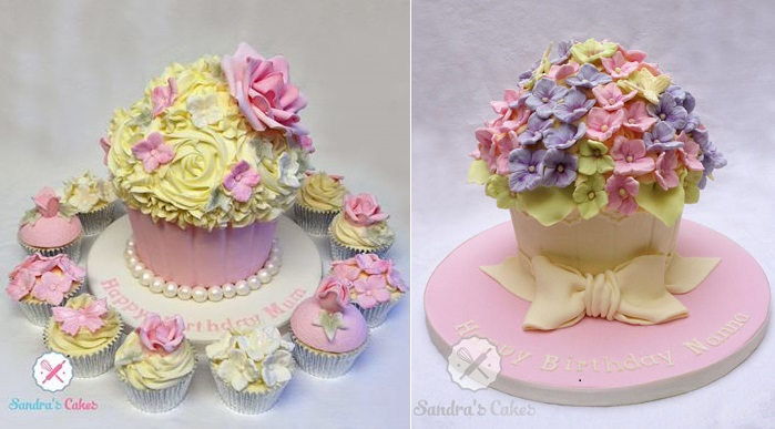 giant cupcake cakes by Sandra's Cakes, Hastings