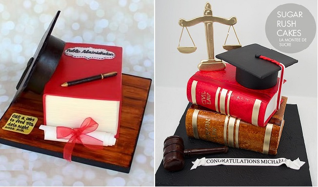 graduation cakes by Cuteology Cakes left and Sugar Rush Cakes right