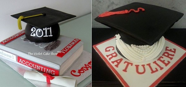 graduation cakes by The Violet Cake Shop left and Cake Styling, right