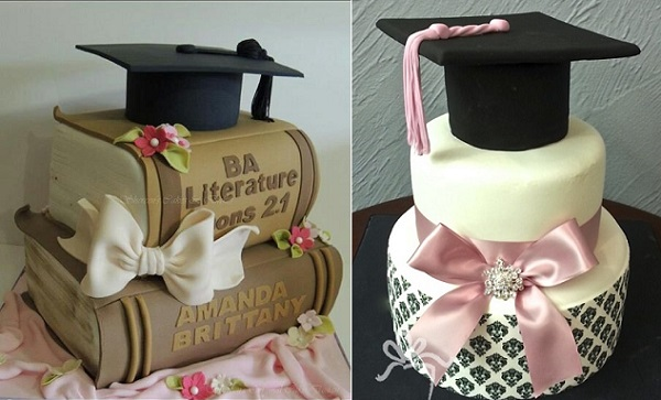 graduation cakes from Tillemont Patisserie right and via Pinterest left