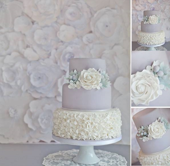 gray wedding cake by Sugar Ruffles UK