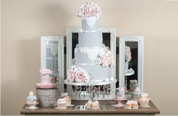 gray wedding cake with vintage lace by Pearls and Lace Cakes