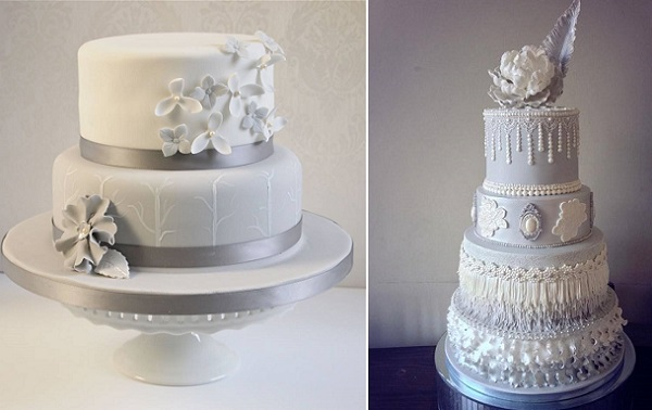gray wedding cakes by the Bath Cake Company left and Cake Artistry by Halima right