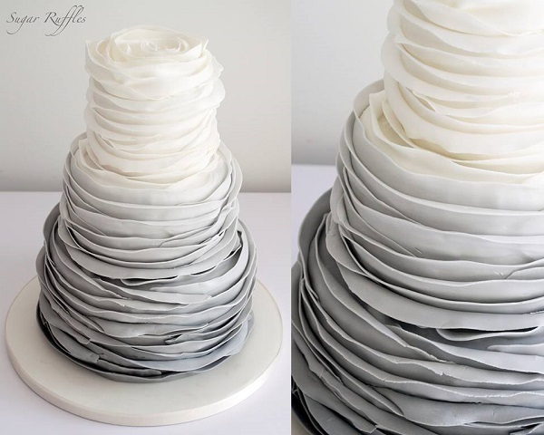 grey ombre ruffle wedding cake by Sugar Ruffles UK