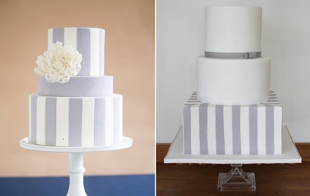 grey striped wedding cakes by Wild Orchid Baking Co. left, Mark Davidson Photo, Cake Face, right