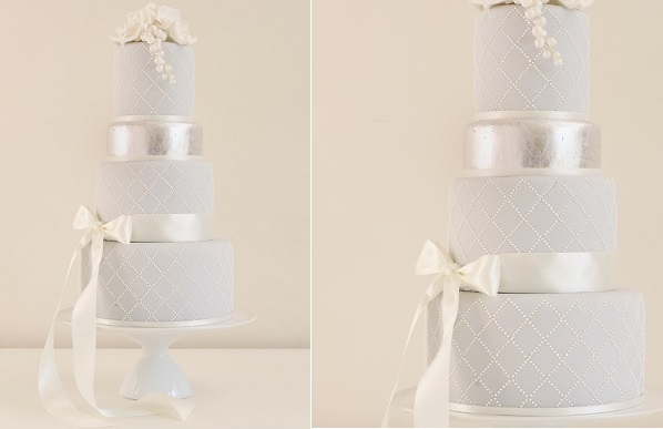 grey wedding cake with lattice design by Bath Baby Cakes
